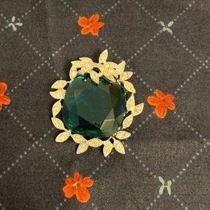 Vintage Sarah Cov Large Green Rhinestone Brooch